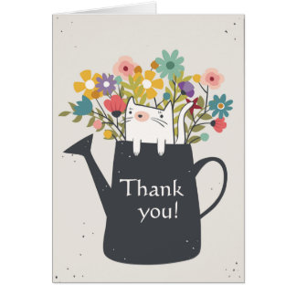 Cat In A Watering Can Card (Photo Optional)