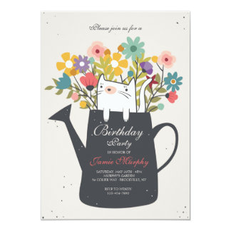 Cat In A Watering Can Invitation