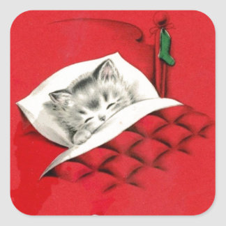 Cat in bed on Christmas Square Sticker