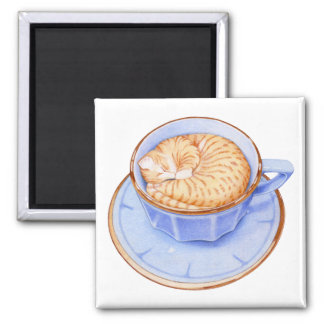 Cat in Coffee Square Magnet