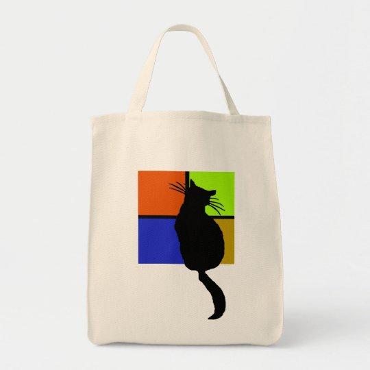 Cat in Coloured Windows Bag
