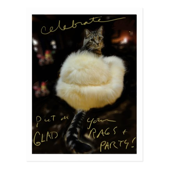 "Cat in Fur Coat ""Celebrate"" postcard / blank"