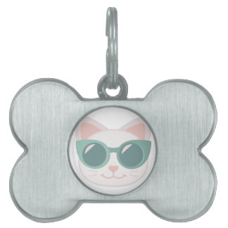 Cat In Glasses Pet ID Tag