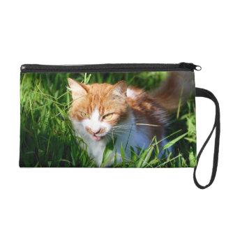 Cat in grass wristlet clutch