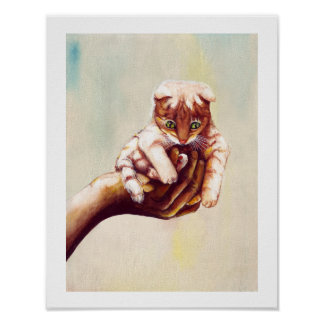 CAT IN HAND POSTER