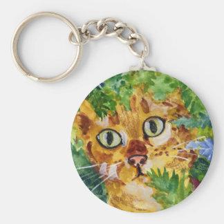 Cat in Hiding Keychain