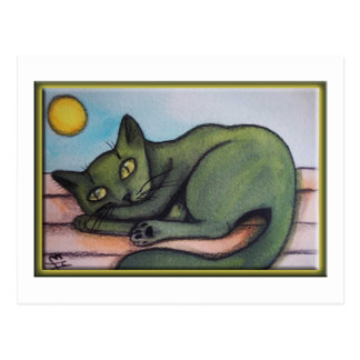 Cat In Hot Sun Postcard