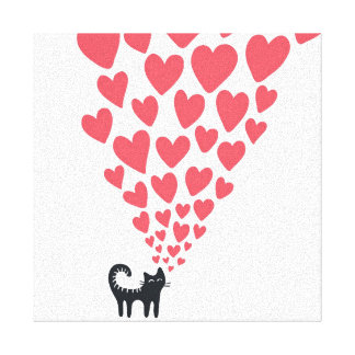 Cat in Love Gallery Wrapped Canvas