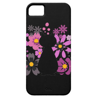 Cat in Pink Flowers IPhone 5/5S Barely There Case