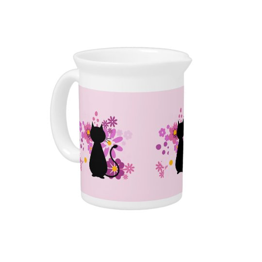 Cat in Pink Flowers Jug/Pitcher Pitcher
