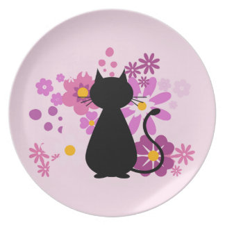 Cat in Pink Flowers Melamine Plate