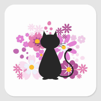 Cat in Pink Flowers Square Stickers