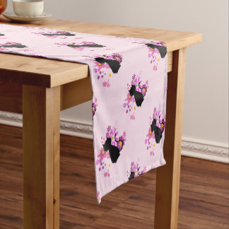 Cat in Pink Flowers Table Runner