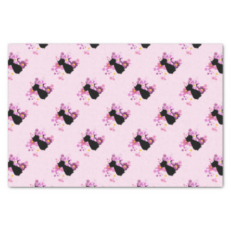Cat in Pink Flowers Tissue Paper