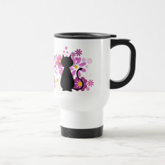 Cat in Pink Flowers Travel/Commuter Mug