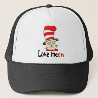 Cat In Red And White Hat Design -Meow Love