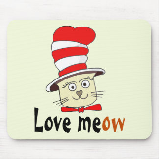 Cat In Red And White Hat Design -Meow Love Mouse Pad