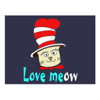 Cat In Red And White Hat Design -Meow Love Postcard