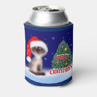 Cat in Santa Hat Can Cooler