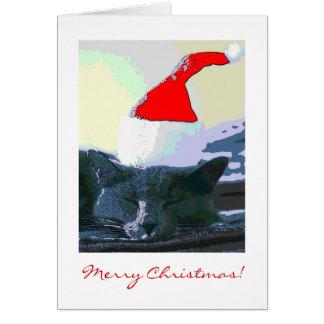 Cat in Santa Hat, Christmas Card