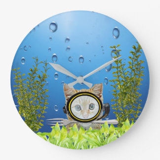 Cat In Scuba Diving Mask with Fork Underwater Wallclocks