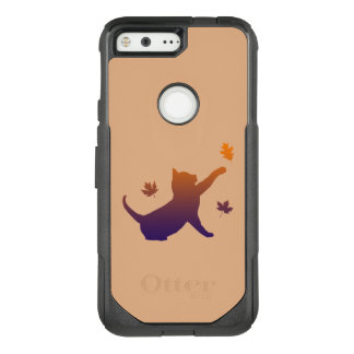 Cat in Silhouette Among the Fall Leaves OtterBox Commuter Google Pixel Case