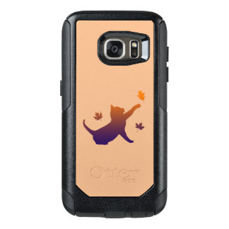 Cat in Silhouette Among the Fall Leaves OtterBox Samsung Galaxy S7 Case