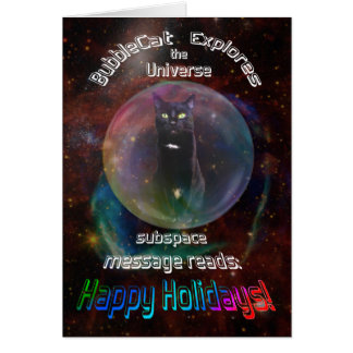 Cat in Space Christmas Card
