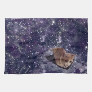Cat In Space Purple Galaxy Kitchen Towel