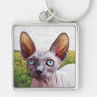 Cat In Sunflowers Silver-Colored Square Keychain