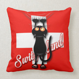 Cat in Switzerland Throw Pillow