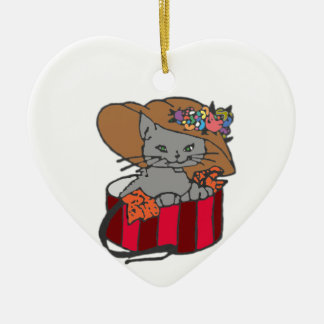 Cat in the Box Ceramic Heart Ornament