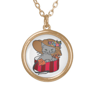Cat in the Box Gold Plated Necklace