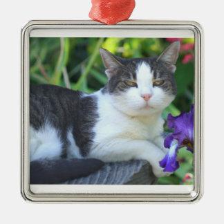 Cat in the garden metal ornament