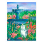 Cat in the Garden Watercolor Painting Postcard