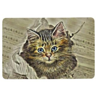 CAT IN THE MEWSPAPER, Vintage Cat Collage Floor Mat