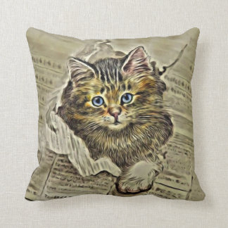 CAT IN THE MEWSPAPER, Vintage Cat Collage Throw Pillow