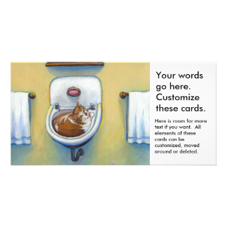 Cat in the sink painting fun happy whimsical art photo cards