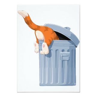 """Cat in Trash Can - Bottoms Up 5"""" X 7"""" Invitation Card"""