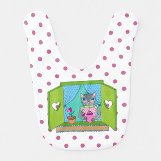 Cat in Window Baby Bib