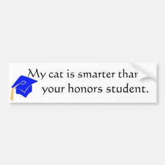 cat is smarter! bumper sticker