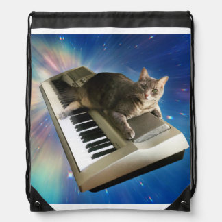 cat keyboard drawstring bag