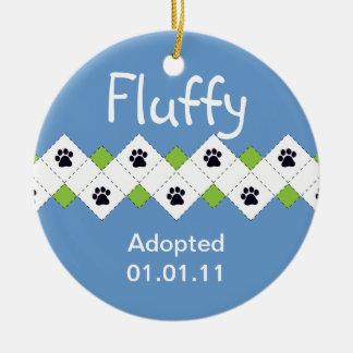 Cat/Kitten Adoption Announcement Round Ceramic Ornament