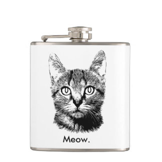 Cat Kitten Cute Meow Hand Drawn Black & White Hip Flask