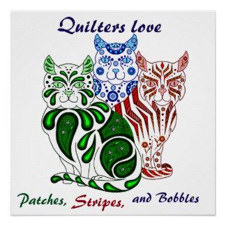Cat kitten folk blue delft Patches/Stripes/Bobbles Perfect Poster