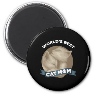 Cat, Kitten, & Pet Mom for Mother's Day Holiday 2 Inch Round Magnet