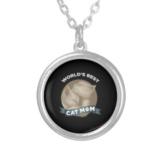 Cat, Kitten, & Pet Mom for Mother's Day Holiday Silver Plated Necklace