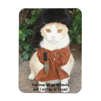 Cat/Kitty in Buckskin with Davy Crockett Quote Magnet