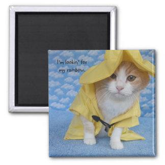 Cat/Kitty in Yellow Slicker Raincoat Magnet
