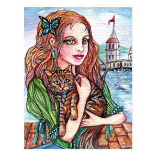 Cat Lady by the Dock Postcard